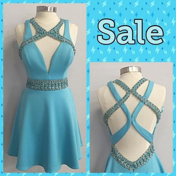 2017 Short Blue Prom Dress Homecoming Dress with Beads