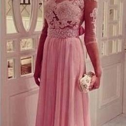 2017 Prom Dress Scoop Neckline Sheer Back Half Sleeves Lace Bodice and Chiffon Skirt Evening Dress