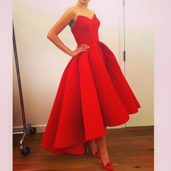 Red Satin High Low Simple Prom Dress Party Gown