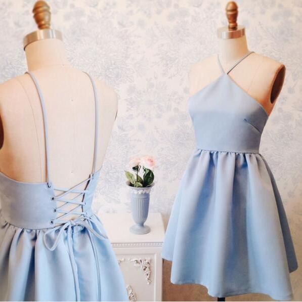 Baby Blue Short A Line Party Dress,Tie Back Cute Prom Dress,Homecoming Dress,Halter Girl Dress