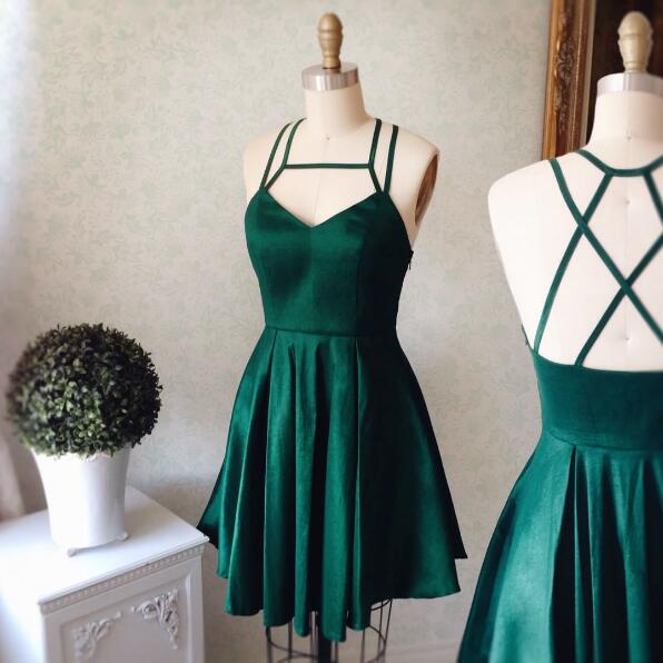 Cute A-line Short Green Prom Dress Homecoming Dress 2017