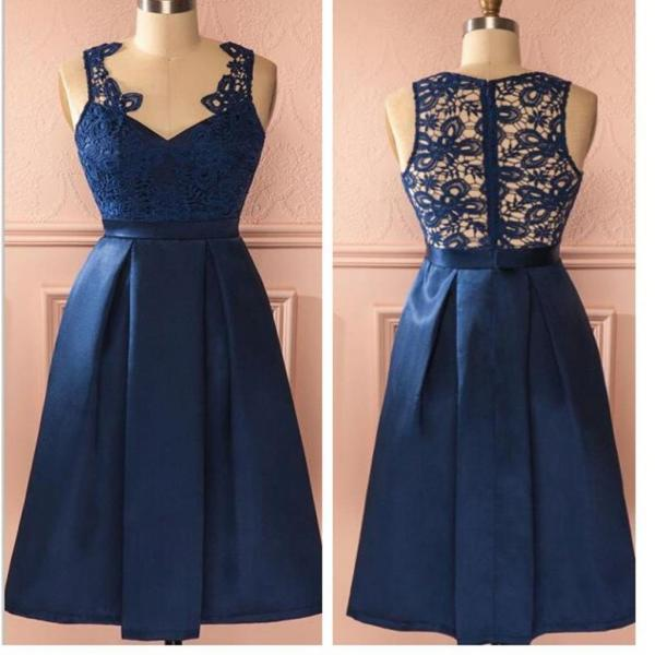 Royal blue vintage lace see through homecoming prom dresses,