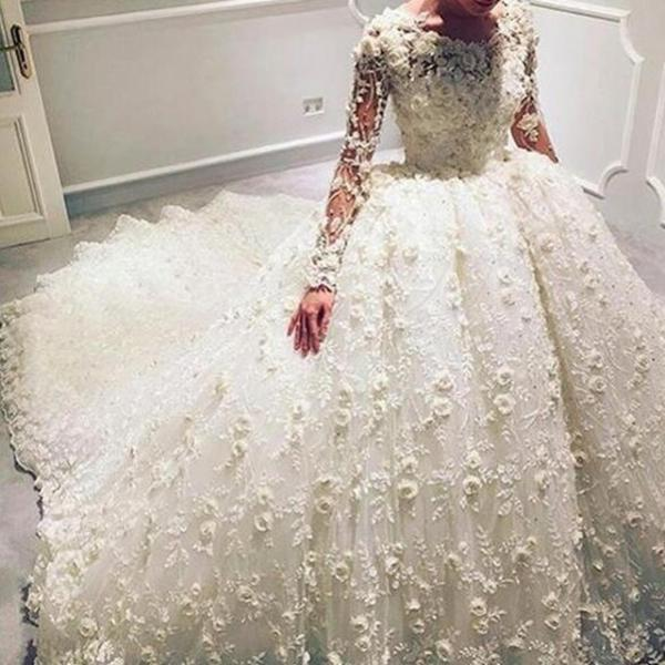 Handmade Flowers Wedding Dresses, Wedding Ball Gowns, Elegant Wedding Dress, Ivory Wedding Dress, Long Sleeve Wedding Dress, Princess Wedding Dress, Chapel Train Wedding Dress
