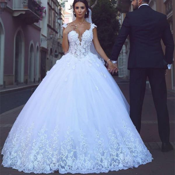 white lace cap sleeves sweetheart tulle princess wedding gowns 2017