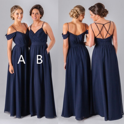 Navy Blue Long Bridesmaid Dress, 2017 Long Bridesmaid Dress