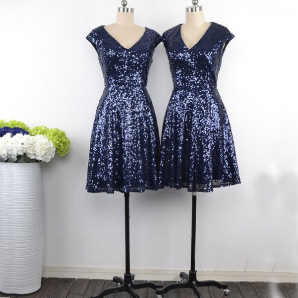 Sequin Bridesmaid Dress,Short Bridesmaid Gown,Sequined Bridesmaid Gowns,Sequins Bridesmaid Dresses,Navy Blue Bridesmaid Dress,Bridesmaid Gowns With Cap Sleeves