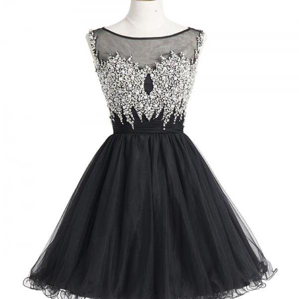 Short Black Tulle Homecoming Dresses Crystals Women Party Dresses
