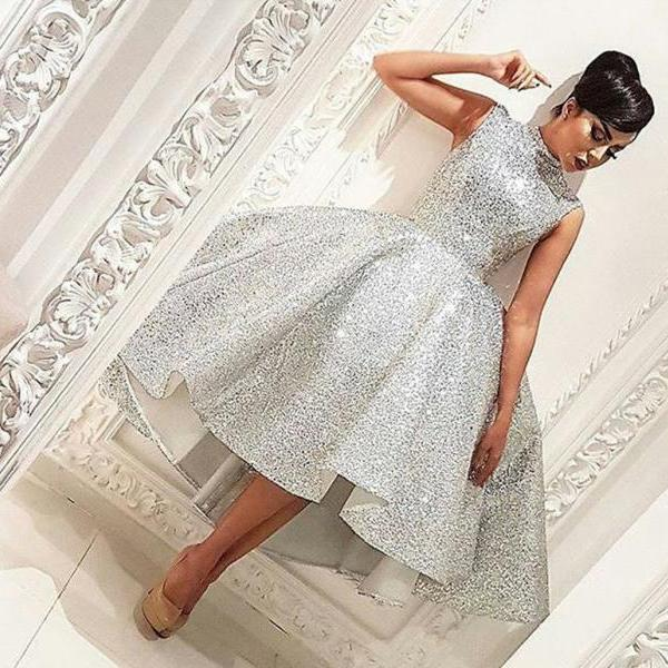 Sparkly Sliver Sequins Hi-Lo Ball Gown Prom Dresses High Neck Knee-Length Sleeveless Formal Party Dresses 2017 cheap