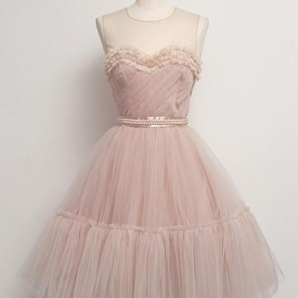 Knee Length Pink Short Tulle Homecoming Dresses O-neckline