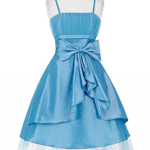 Short Satin Homecoming Dress Spaghetti Straps Beaded Women Dresses