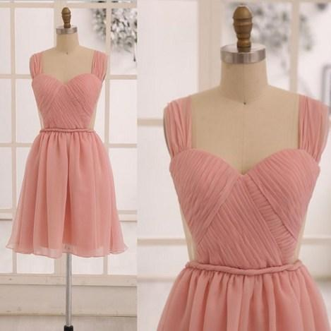Grace Blush Pink Chiffon Short Bridesmaid dress See Through Backless Dress, Cute Bridesmaid Dresses, Lovely Evening Dresses