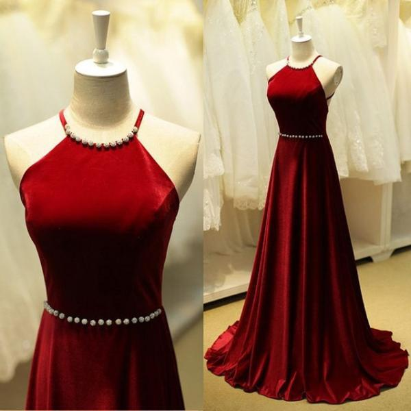 Elegant Burgundy Prom Dresses Beaded Halter Neck Long Prom Dress Sleeveless Backless Prom Dresses