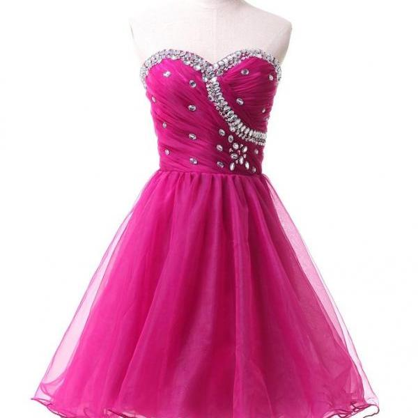 Hot Pink Homecoming Dresses,Homecoming Dress, Cute Homecoming Dresses,Tulle Homecoming Gowns,Short Prom Gown