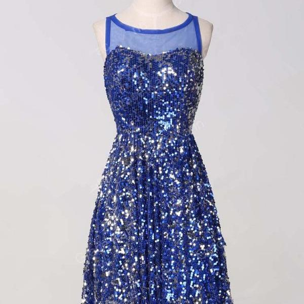 Sequin Homecoming Dress,Sparkle Homecoming Dresses,Glitter Homecoming Gowns,Sequined Prom Gown,Blue Sweet 16 Dress,Casual Homecoming Dresses,Sequins Cocktail Dress