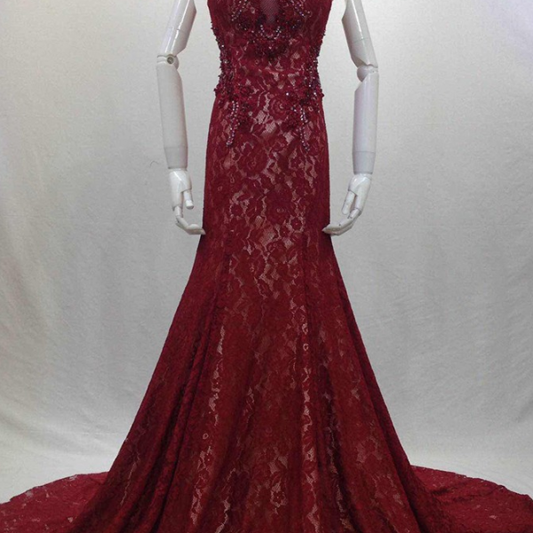 Charming Evening Dress,Lace Mermaid Evening Dresses,Formal Dress