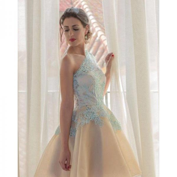 One Shoulder Blue Lace Homecoming Dress,Sweetheart Backless Homecoming Dress