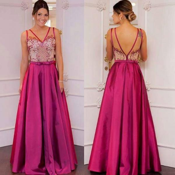 Pink Prom Dresses,Pink Prom Dresses,Long Satin Prom Gown,Evening Gowns For Teen