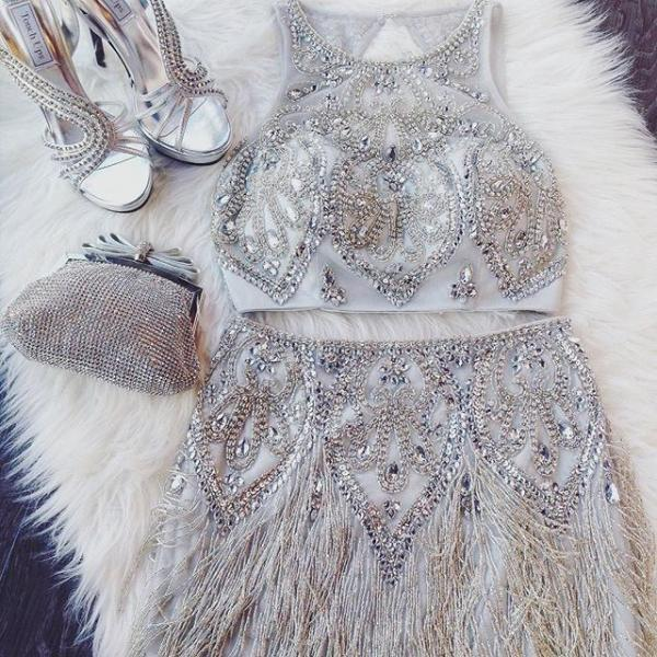 Homecoming Dress-2 Piece Silver Beading Short with Tassel
