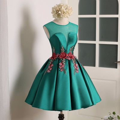 Ball Gown Pink Red Green Satin Scoop Neck Short Cap Sleeve Embroidered Short Mini Party Dresses Real Sample Ready To Ship
