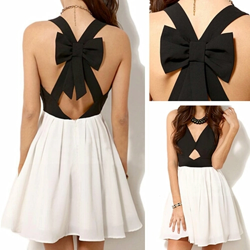 Fashion Black Satin Chiffon V-Neck Cocktail Dress With Bow homecoming dress,short prom dress,backless Evening Dresses,unique prom dresses,mini modest prom dresses,party dresses,