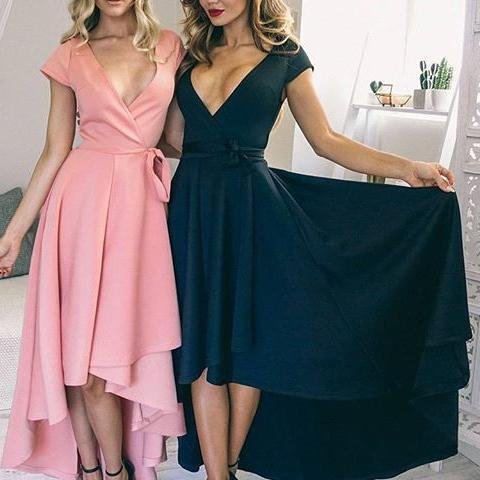 Sexy V Neck Cap Sleeves High Low Homecoming Dress,Fashion Homecoming Dress,Sexy Party Dress,Custom Made Evening Dress
