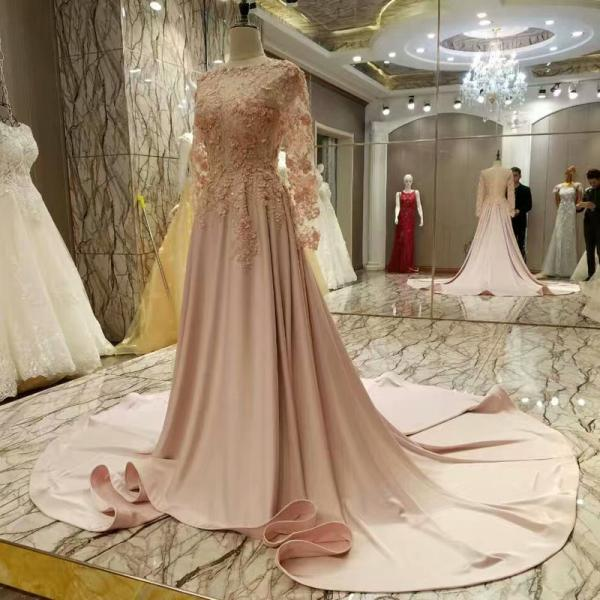 Real Picture O-neck Chapel Train Evening Dresses A Line Long Sleeve Appliques Lace Flowers Evening Gowns Prom
