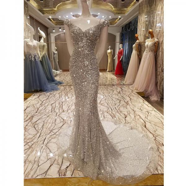 New Arrival luxury Scalloped Neck Floor-Length Gray Prom Dress Beaded Crystals Sequin Tulle Formal Mermaid Evening Dresses