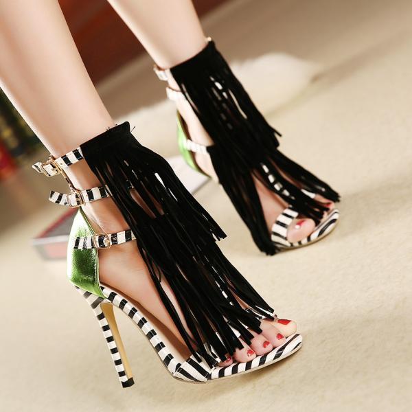 Open-Toe Tassel Striped Triple Ankle Strap Stilettos, High Heels