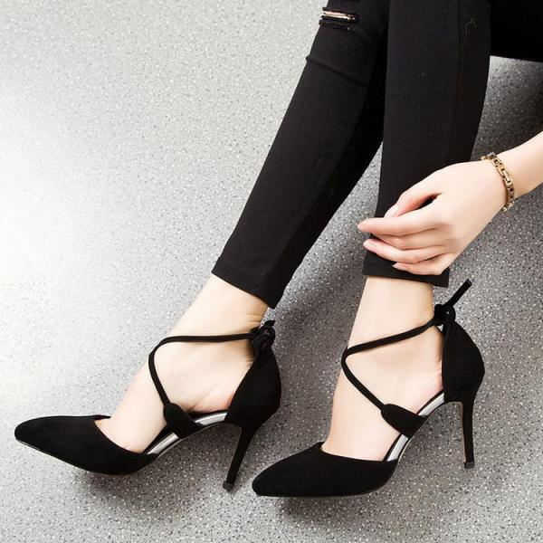 Womens Sexy Lace Up High Heel Pointy Toe Sandals