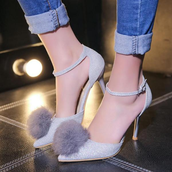 Women PU Sexy Hasp Solid Pointy Toe Thin High Heel Sandals