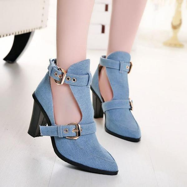 Pumps Women High Top Hasp Pointy Toe High Heels
