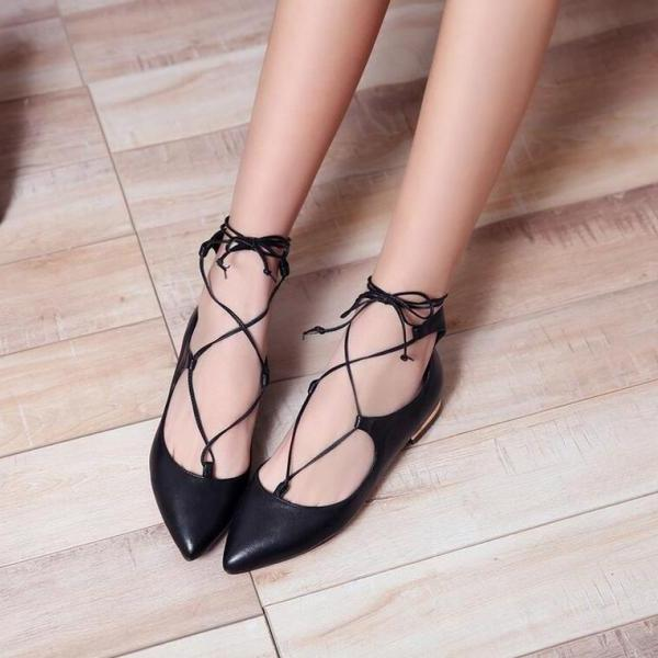 Pointed-Toe Lace-Up Cross Bandage Ballerina Flats