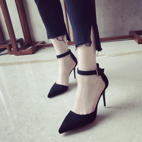 Sandals Heels Women Sexy Tassel Hasp Thin Solid Pointed Toe High Heel
