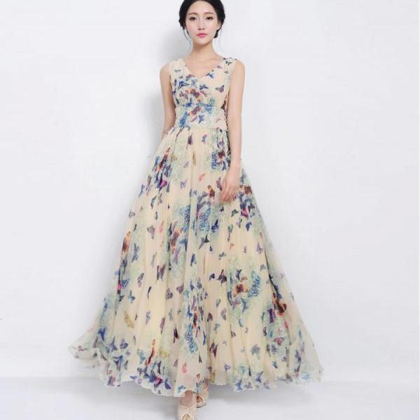Designer Butterfly Floral Maxi Dress 2017