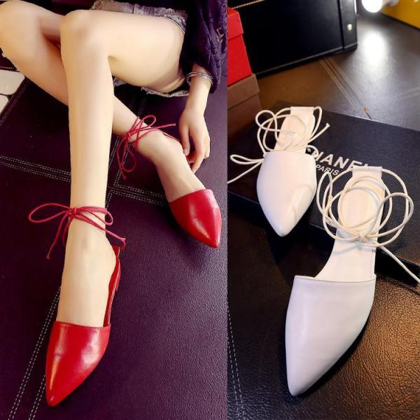 Women Solid Lace Up Pointy Toe Flat Slippers