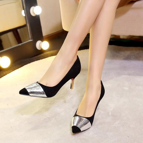 Women Suede Sexy Mixed Colors Pointy Toe Kitten Heel Pumps