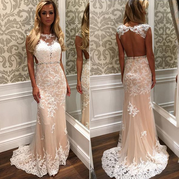 Prom dresses 2017,Champagne Evening Dress, Mermaid Evening Dress, Long Evening Dress, Lace Evening Dress, Backless Evening Dress, Sexy Evening Dress, Formal Party Dresses, Cheap Formal Dresses