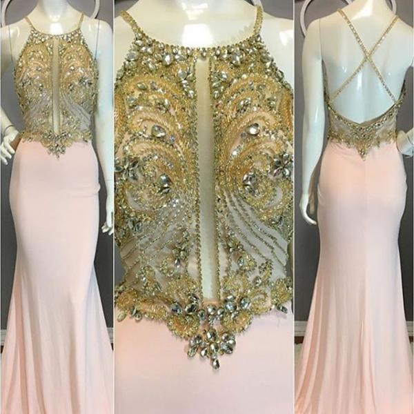 Cheap prom dresses 2017,High Quality Prom Dresses ,Crystals Beaded Halter Prom Gown, Mermaid Sexy Backless Formal Dresses