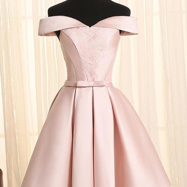 Cheap homecoming dresses 2017,Vintage A-Line Off-the-shoulder Lace Up Knee Length Pink Satin Homecoming Dress with Lace