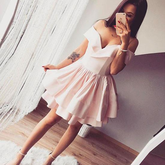 Cheap homecoming dresses 2017,Pink Short Off Shoulder Homecoming Dress,Pink Cute Prom Dresses