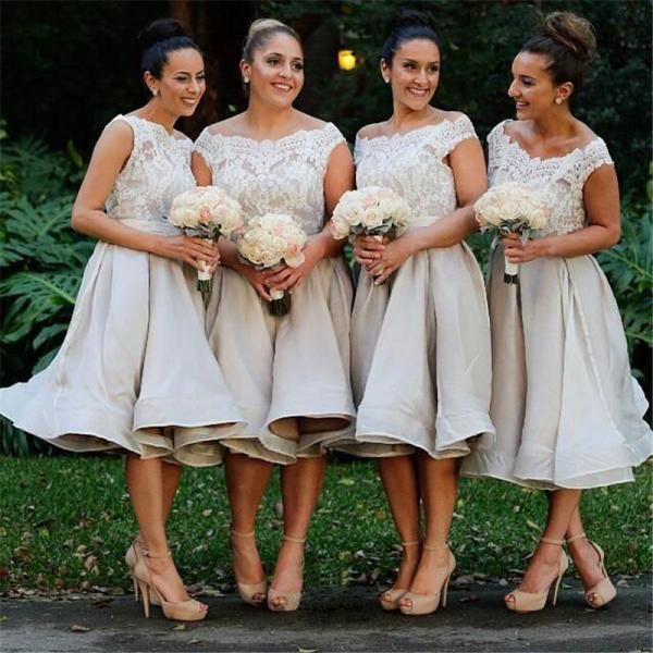 Tea Length Elegant Bridesmaid Dress,Chiffon Bridesmaid Dress,Bridesmaid Dress With Appliques,Cheap Bridesmaid Dress,