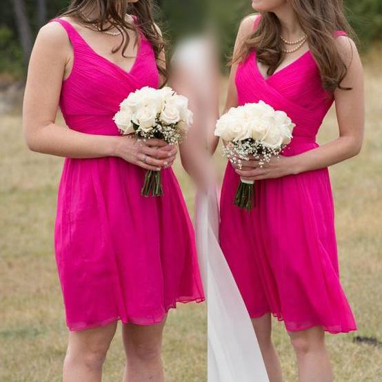 Brief Bridesmaid Dress,Chiffon Bridesmaid Dress,A-Line Bridesmaid Dress,Short Wedding Party Dress,