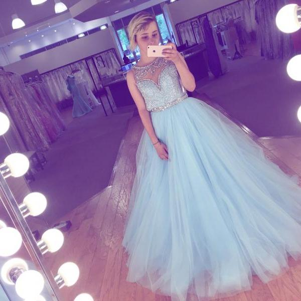 Cheap prom dresses 2017, Sparkly Long Elegant Prom Dresses 2017 Crystals Sequins Puffy Tulle Fabric Beading Illusion Back Hand Make Ball Gown Evening Dress Party Gowns