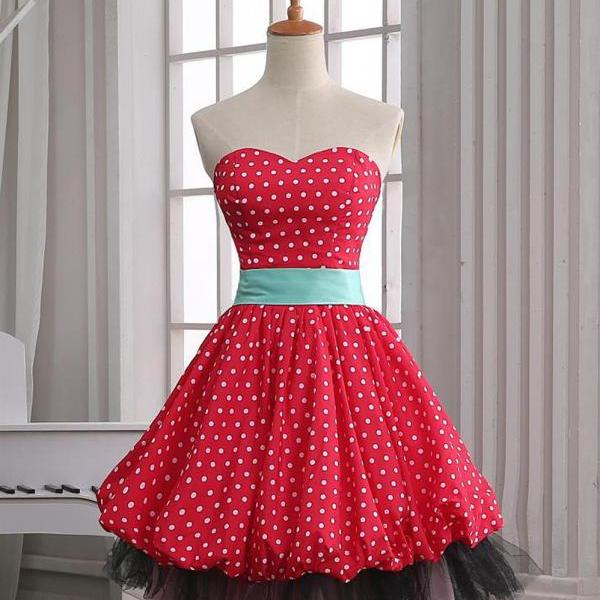 Cheap homecoming dresses 2017,Vintage A-line Sweetheart Polka Dots Dress - Party dress, Costume dress