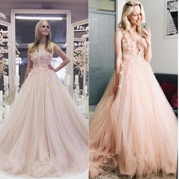 Charming Pink Deep V Neck Both Shoulders Handmade lace Wedding Dress Bridal Gowns