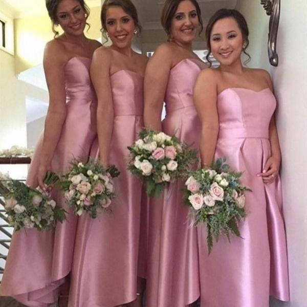 2017 New Arrival A-line Hi-Low Bridesmaid Dress,Pink Sweetheart Simple Bridesmaid Dress