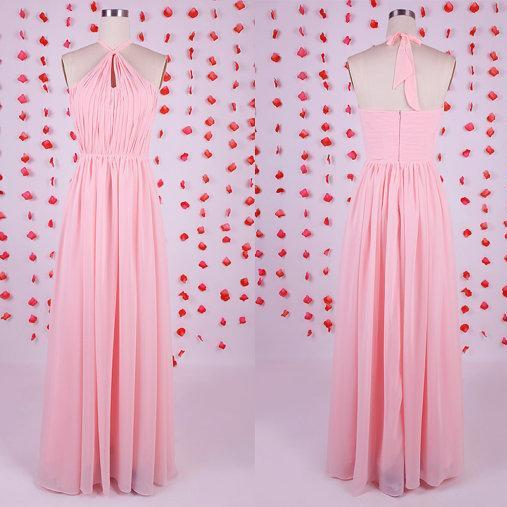 2017 Newest design bridesmaid dress, pink bridesmaid dress, chiffon bridesmaid dress,long bridesmaid dresses,affordable wedding guest dresses,beautiful evening gowns,