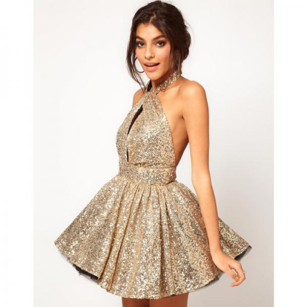 Cheap homecoming dresses 2017,Glamorous Halter A Line Sleeveless Short Homecoming Dresses Sexy Backless Party Prom Gown Cocktail Dress With Sequins