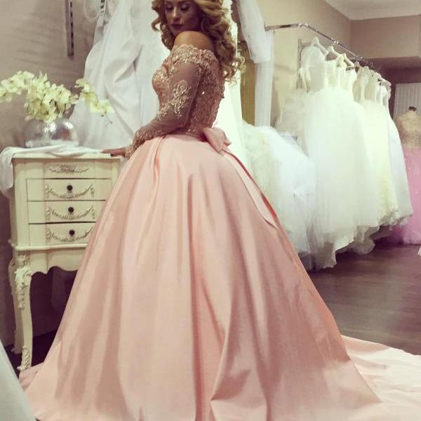 Cheap wedding dresses 2017,New Arrival Round Neck Long Sleeves Pink Lace Wedding Dress