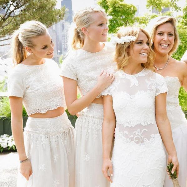 Modern White Two Piece A-line 2017 Bridesmaid Dress Lace Short Sleeve Jewel